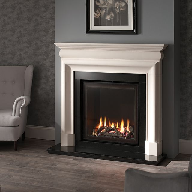 Newman Napoli 48 inch Lime stone fireplace